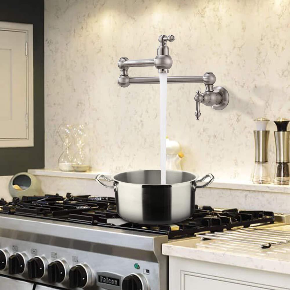 VOKIM Pot Filler Commercial Double Handle Wall Mount Brushed Nickel Pot Filler Faucet, Brushed Nickel Kitchen Faucet by VOKIM (Image #3)