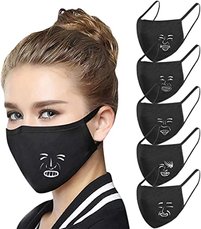 A 5PC 3D Fashion New Printing Washable Face Cloth Unisex Reusable Face Protection