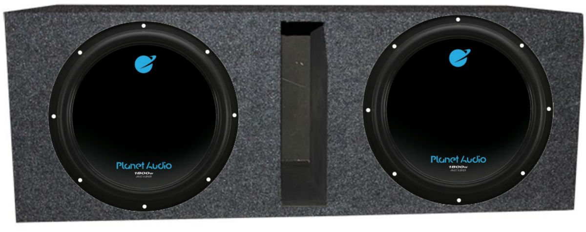 Planet Audio 12'' 3600W DVC Subwoofer AC12D (2)+Dual 12'' Vented Sub Box Enclosure