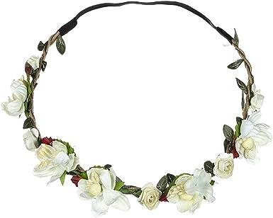 Gothic WHITE ROSES Flower Garland Headband WEDDING Parties /& FESTIVALS
