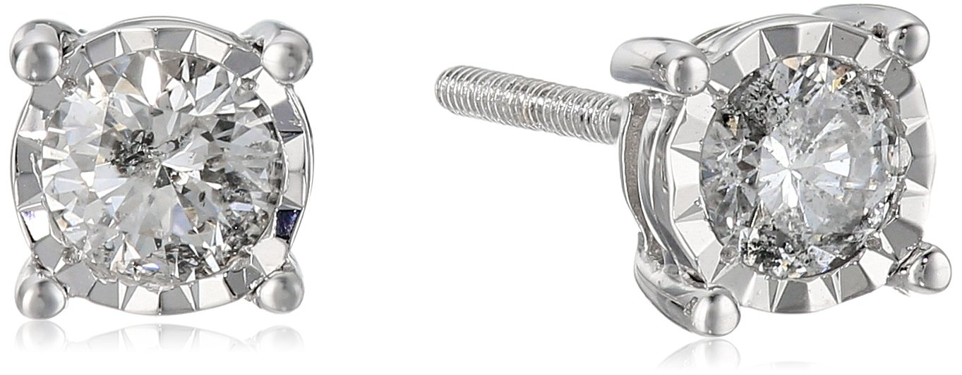 14k Round Diamond White Gold Miracle Stud Earrings (1/2cttw, J-K Color, I2-I3 Clarity)