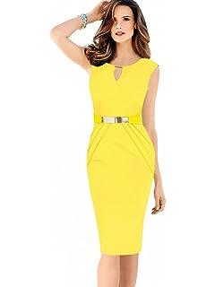c10462ad4580fc Misshow Damen Etuikleid Knielang Business Ärmellos Bleistiftkleid Abendkleid