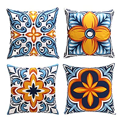 cygnus Farmhouse Throw Pillow Cover 18x18 Floral and Boho Retro Pattern Pillowcase Outdoor Cushion Cover Pillow Case for Sofa Bed Decorative Pack of 4 - ¡¾Size & Material: ¡¿4 pcs of 18x18 Inch Farmhouse pillow covers without inserts. Made of 100% durable and soft polyester fabric, durable and comfortable. children and adults could rest on it. ¡¾Characteristics:¡¿Zipper is hidden and works smoothly.please fold the pillow insert before you put it into the pillowcase, this is very important. ¡¾Designed:¡¿Fruit pattern, Boho Retro pattern,Printed floral or geometric (front), solid color soft fabric (back),suitable outdoor use or farmhouse decor - patio, outdoor-throw-pillows, outdoor-decor - 61KUK0oSRuL. SS400  -