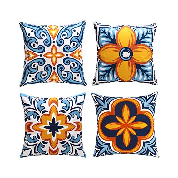 cygnus Farmhouse Throw Pillow Cover 18x18 Floral and Boho Retro Pattern Pillowcase Outdoor Cushion Cover Pillow Case for Sofa Bed Decorative Pack of 4 - ¡¾Size & Material: ¡¿4 pcs of 18x18 Inch Farmhouse pillow covers without inserts. Made of 100% durable and soft polyester fabric, durable and comfortable. children and adults could rest on it. ¡¾Characteristics:¡¿Zipper is hidden and works smoothly.please fold the pillow insert before you put it into the pillowcase, this is very important. ¡¾Designed:¡¿Fruit pattern, Boho Retro pattern,Printed floral or geometric (front), solid color soft fabric (back),suitable outdoor use or farmhouse decor - patio, outdoor-throw-pillows, outdoor-decor - 61KUK0oSRuL. SS570  -