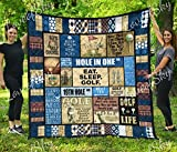 LoveofSky Golf is Life Golf Vintage Quilt King Size - All Season Comforter with Cotton Quilts - Best Decorative Unique Banklet for Traveling, Picnics, Beach Trips, Gifts