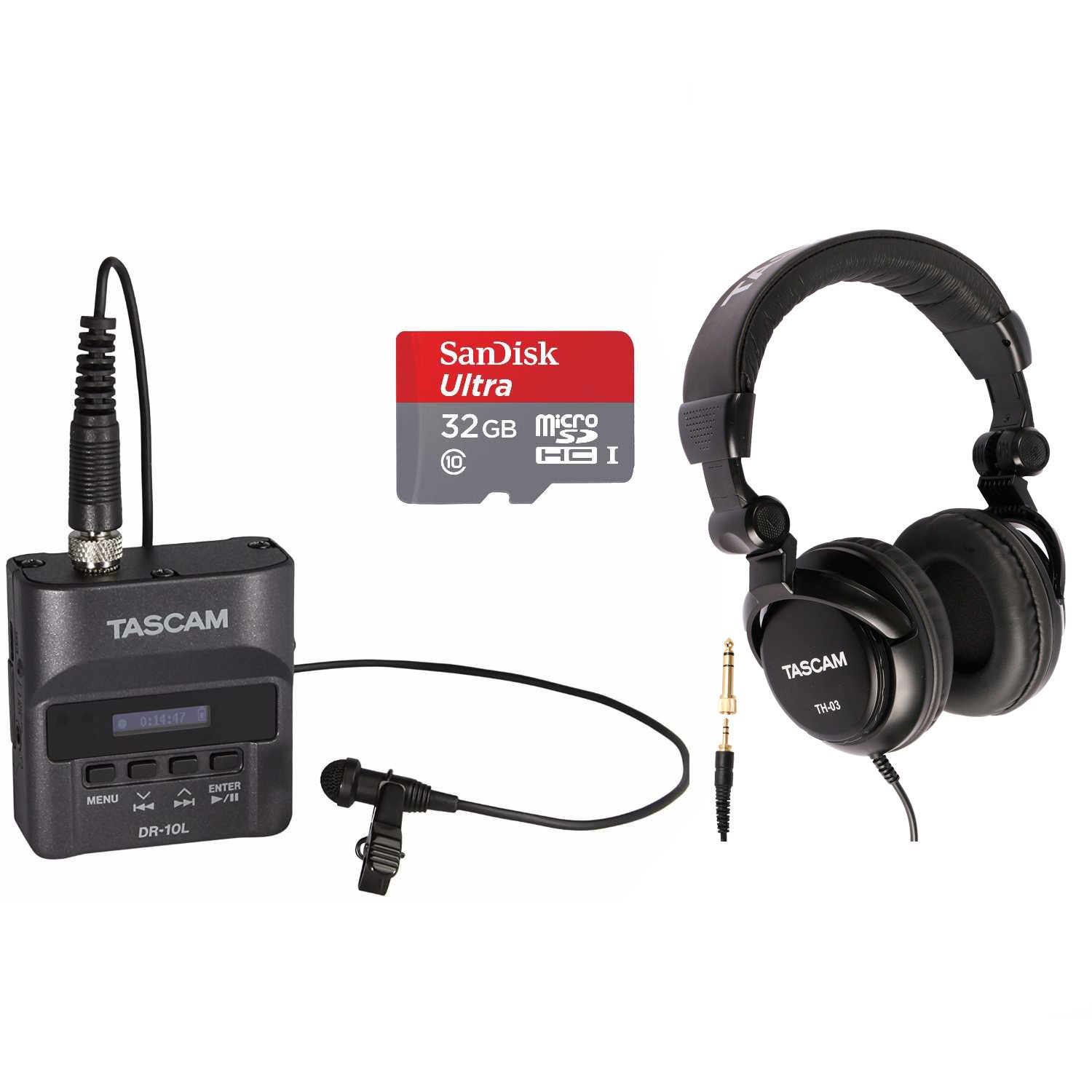 Tascam DR-10L Digital Recorder with Tascam TH-03 Headphones and 32GB SD Card, Black 4334434106