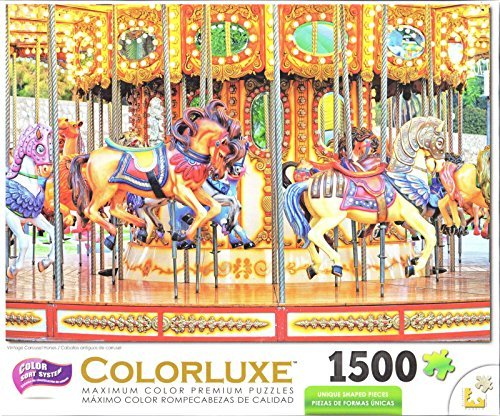 Colorluxe 1500 Piece Puzzle - Vintage Carousel Horses from George