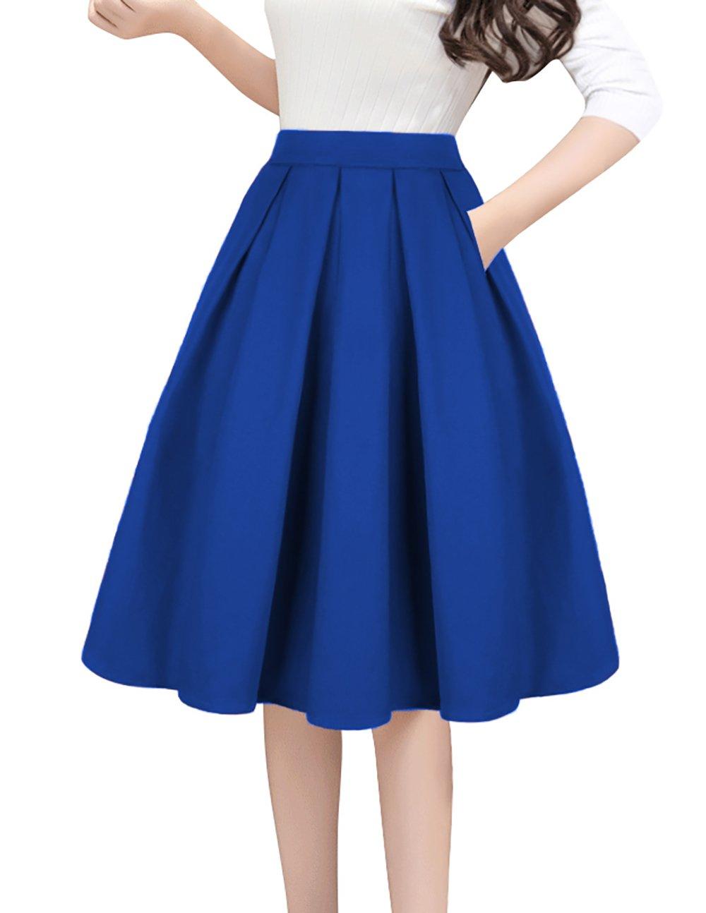 Tandisk Women's High Waist Flared Skirt Pleated Midi Skirt with Pocket Blue S