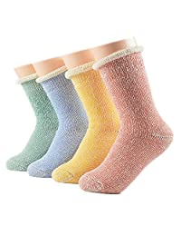 Ziye Shop 4 Pairs Women Girls Thick Cotton Socks Winter Soft Warm Fuzzy Socks