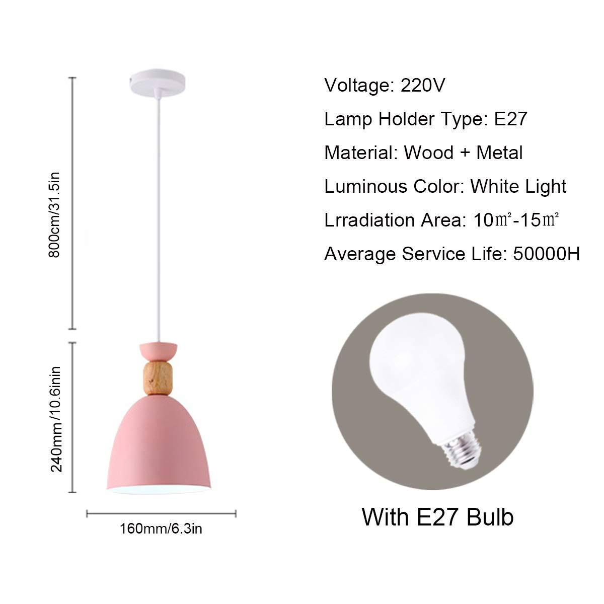NANGE Macaron Chandelier, Wood Metal Suction Cups Pendant Lighting,Restaurant Home Dining Table Hanging Lamp,E27,110-220V(Without Light Source) (Color : Pink, Size : AC 220V) by NANGE (Image #2)