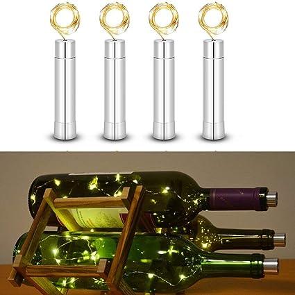XuBa 4Pcs 2M 20 Leds Botella de Vino Solar Tapón Alambre de Cobre Estrellada Luz de