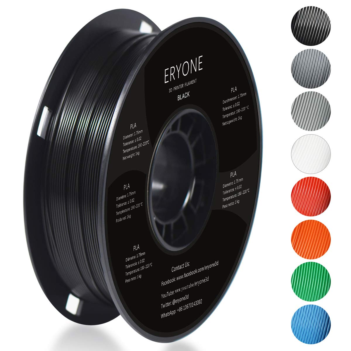 Filament PLA 1.75mm, Eryone PLA Filament 1.75mm, 3D Drucken Filament PLA for 3D Drucker, 1kg 1 Spool, Wei?