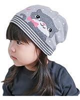 Bigood Bonnet Enfant Coton Chapeau Cœur Pois Minion Chat Imprimé Rayure Hiver