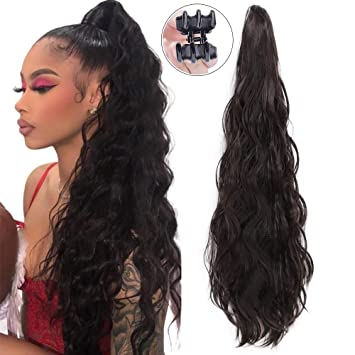 Entranced Styles Ponytail Extension For Black Women Synthetic Curly Wavy Ponytail Extension Drawstring Clip In Claw Hair Extensions Natural Black
