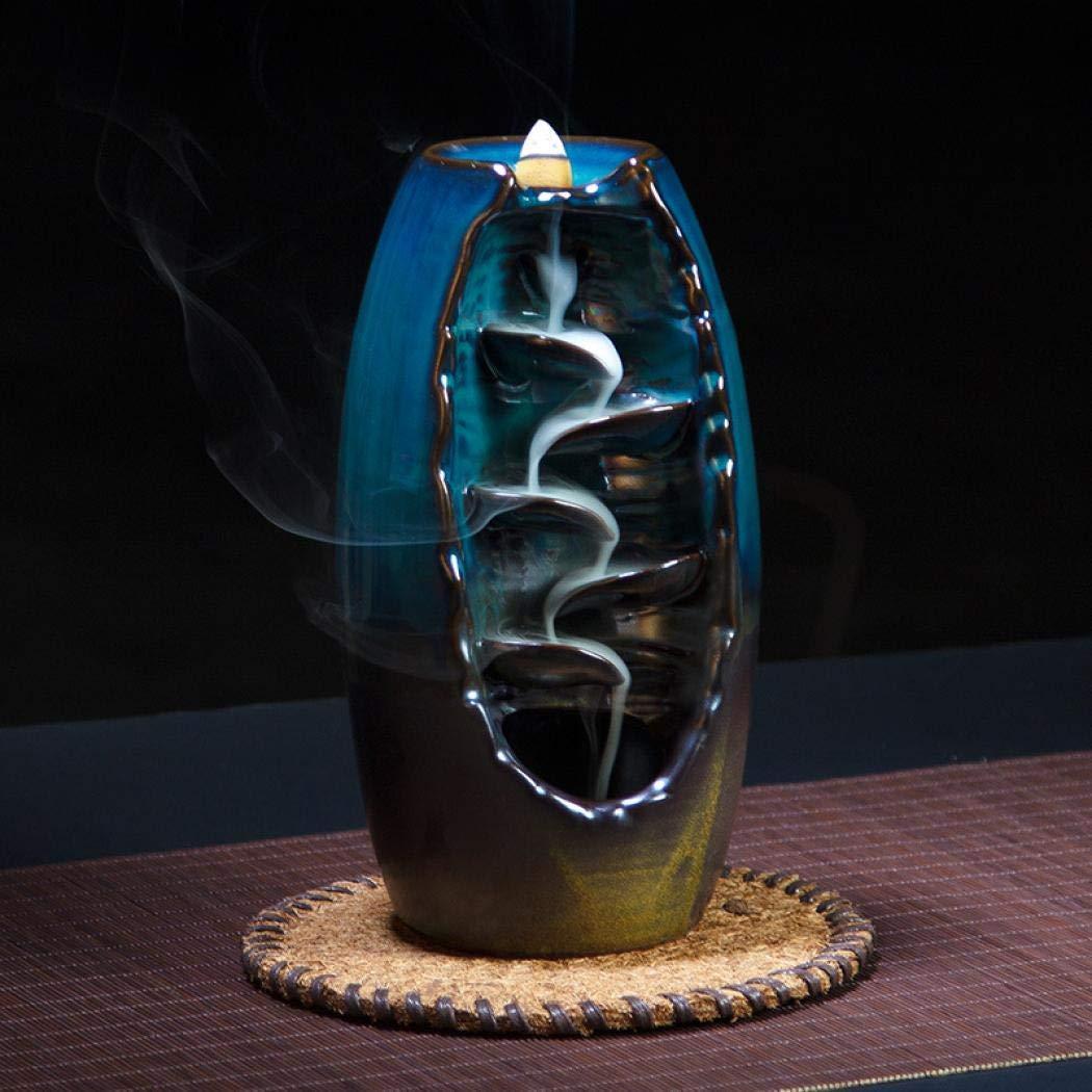 Mangetal Ceramic Waterfall Backflow Incense Burner Incenser Holder Home Decor Aromatherapy Ornament+ 10 Cone Incense Free, Incense Stick Holder Incense Burner (9x9x20.5CM)