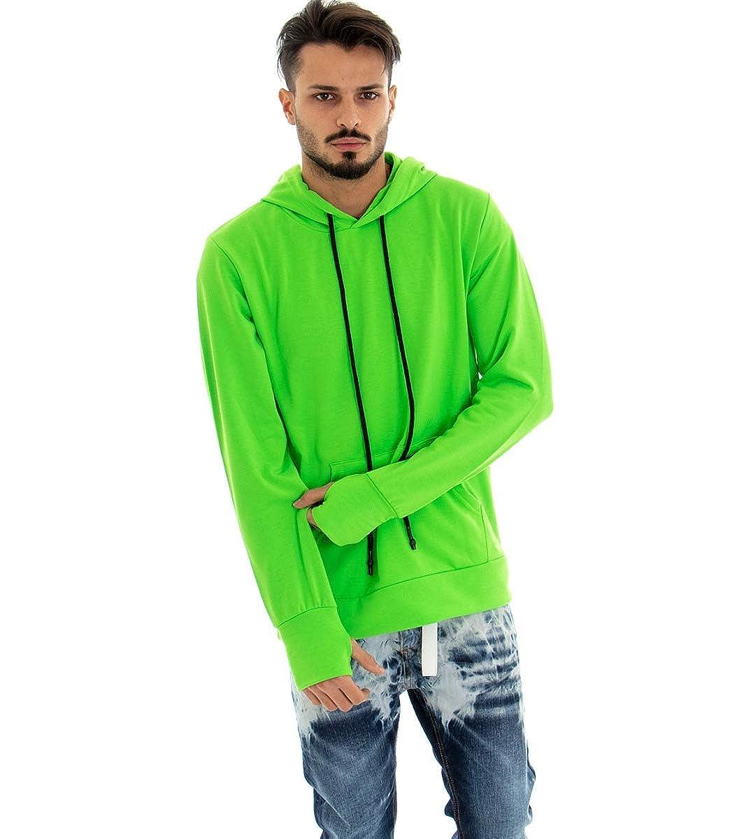 Felpa Uomo Verde Fluo con Cappuccio Felpata Manica a Guanto Over Size GIOSAL