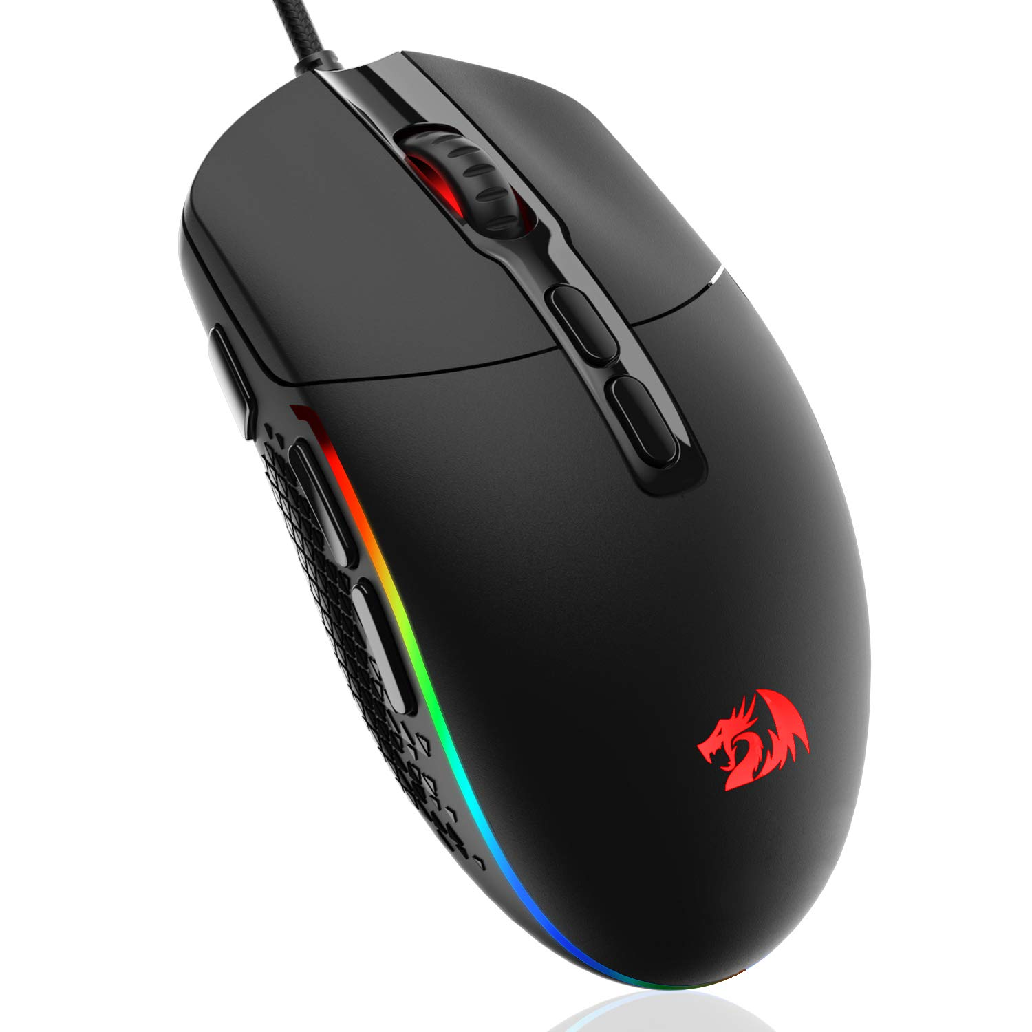Redragon M719 Invader Wired Optical Gaming Mouse, 7 Programmable Buttons, RGB Backlit, 10,000 DPI, Ergonomic PC Computer Gaming Mice with Fire Button
