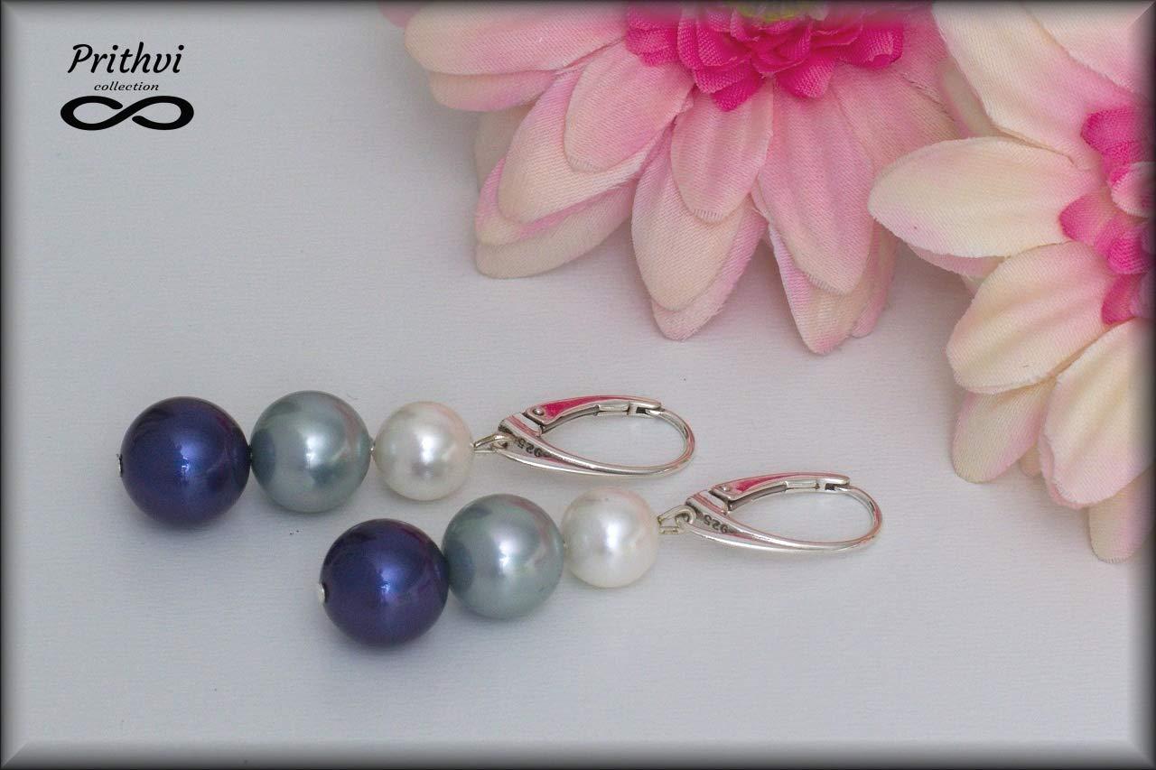Elegante pendientes de Perlas de Rio para muje - Perlas de río (8mm, 10mm), Plata de ley de 925 milésimas (Ag 925/1000)