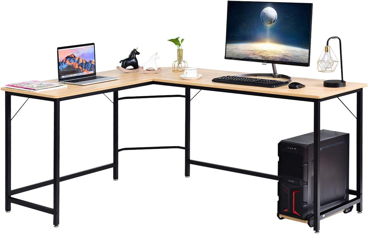 Tangkula L-Shaped Desk, Corner Computer Desk with CPU Stand, PC Laptop Study Table with Lager Working Space and Adjustable Foot Pads, Perfect for Office, Bedroom or Game Room, Natural