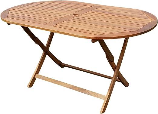 Plegable Mesa de jardín mesa de madera mesa ovalada 150 x 85 cm Barbados de eucalipto como teca de as de S: Amazon.es: Jardín
