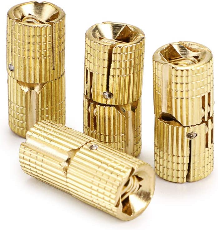 OwnMy 10mm Hidden Brass Barrel Hinges 4PCS, Concealed Box Hinges Invisible Furniture Hinges 180 Degree Opening Angle Cabinet Hinges for DIY Jewelry Box Hand Craft