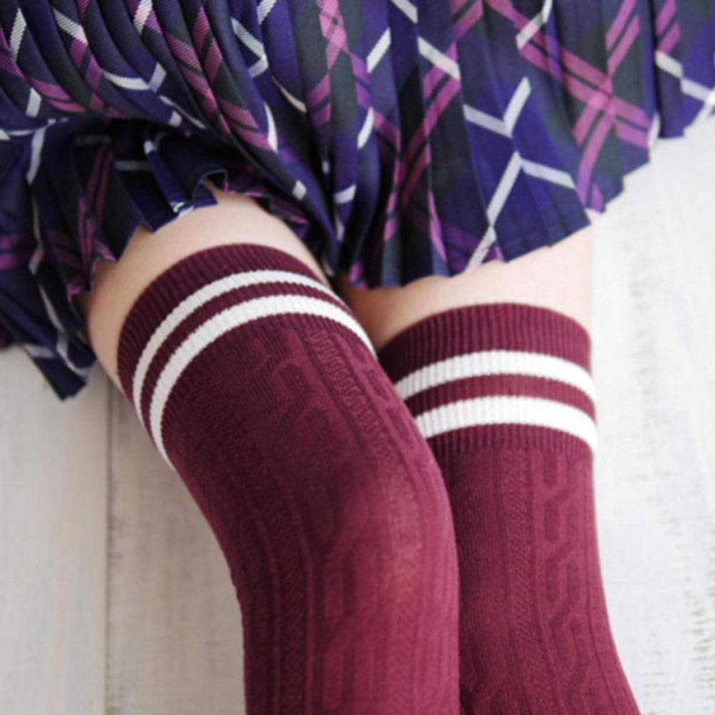 Women Girl Over The Knee Tights Thigh High Stockings Striped Long Socks Winter Warm Soft Leggings