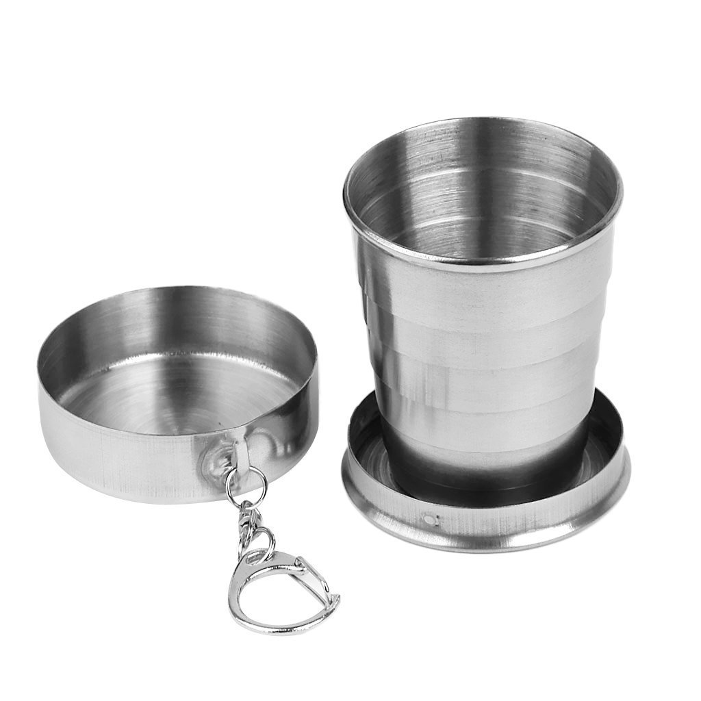 QwinOut Stainless Steel Travel Camping Hiking Foldable Collapsible Cup for Camping (Small Size)