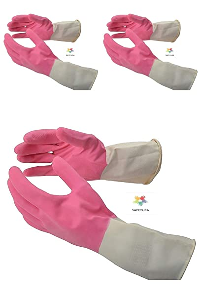 SAFEYURA® Rubber Cleaning Hand Gloves Set of 3 Pairs, Pink Natural Color