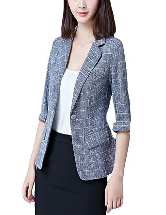 84f6a32f0f0 MFrannie Women s summer leisure blazer 3 4 sleeved work office blazer at  Amazon Women s Clothing store