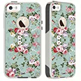 iphone 5 case vintage floral - Unnito iPhone 5 Case/iPhone 5s/SE Case [Dual Layered Hybrid] Protective Commuter Case for iPhone 5/5S/SE (White Case - Vintage Sea Green Floral)