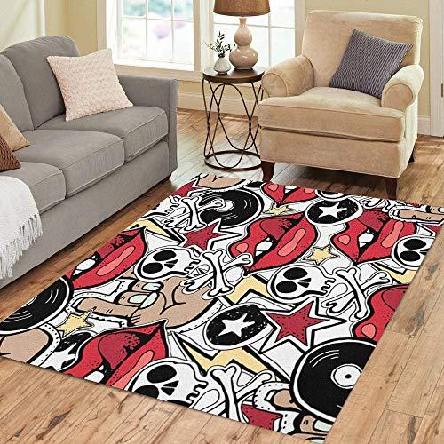 Pinbeam Area Rug Crazy Punk Rock Abstract Skulls Pins Guitars Symbols Home Decor Floor Rug 5' x 7' Carpet -