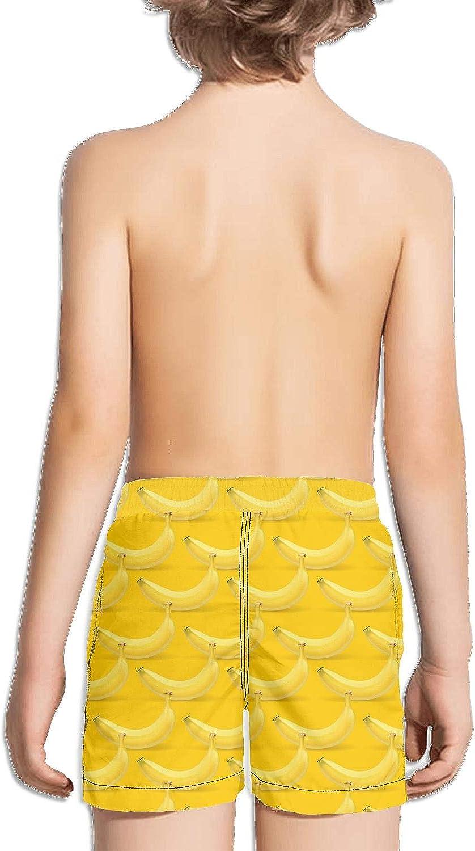 SYBING Yellow Banana Chips Kids Drawstring Elastic Waist Sports Beach Surfing Board Shorts