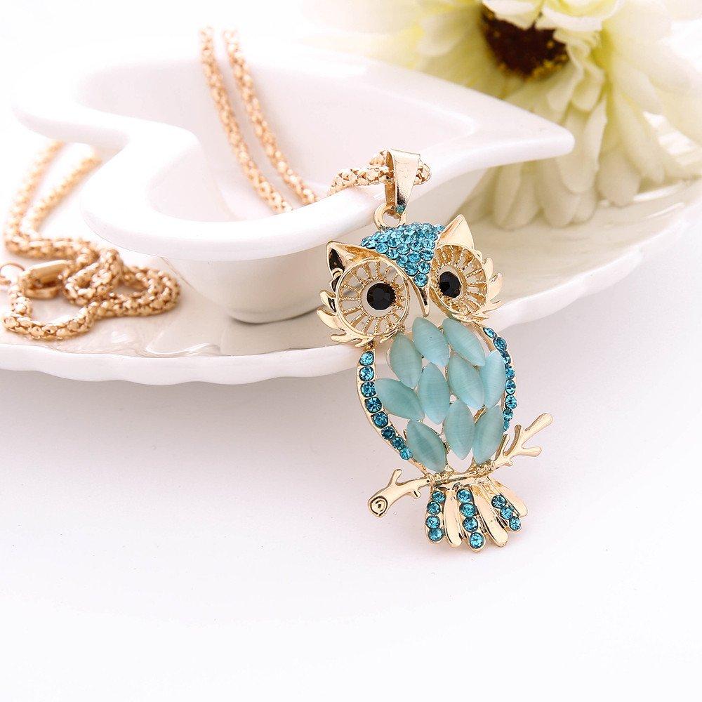 Onefa Women Charm Colorful Owl Crystal Rhinestone Cute Pendant Sweater Long Necklace (Blue)
