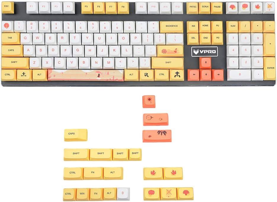 YMDK 129 Key Autumn Dye Sub ZDA Ball Shape PBT Keycap Set