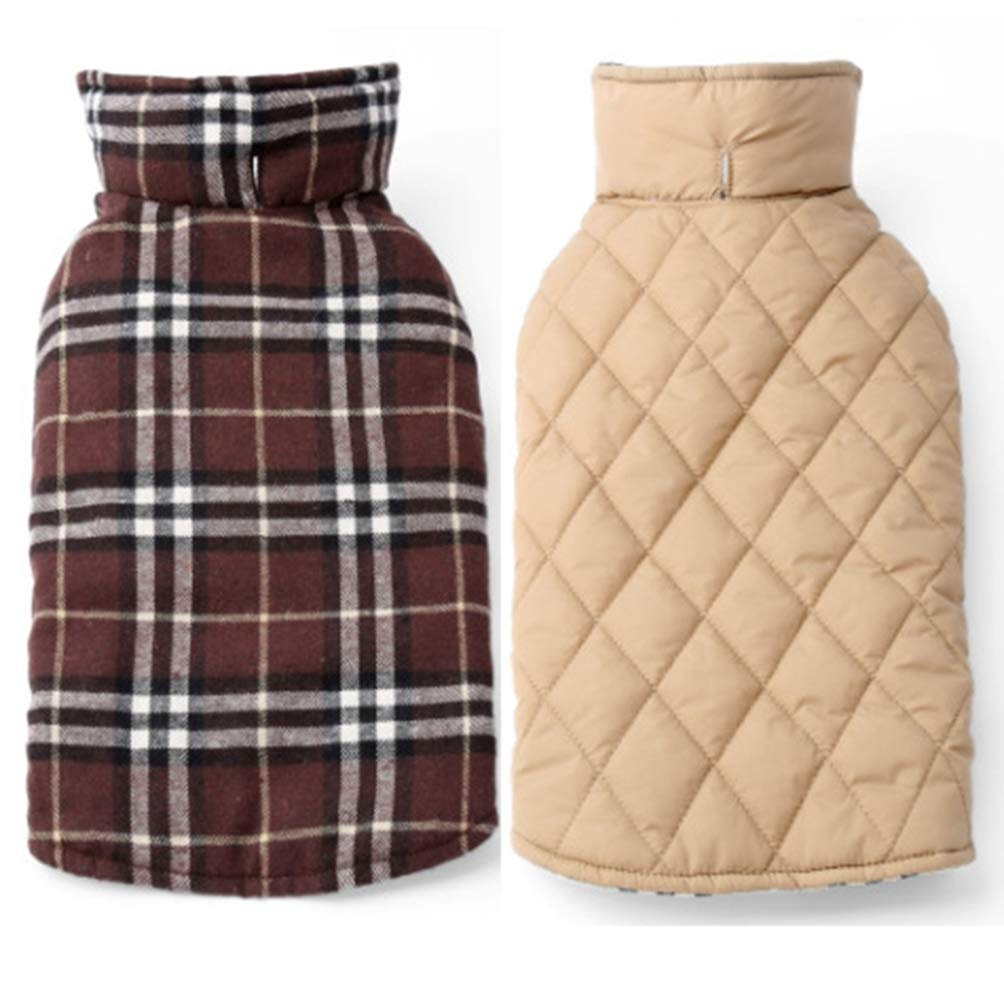 Coffee 3XL Coffee 3XL Jim Hugh Dog Jacket Windproof Warm Reversible Polyester Winter Quilted Dog Apparel Clothes Coat Jacket