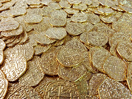 Beverly Oaks Metal Pirate Coins - 50 Gold Spanish Doubloon Replicas - Fantasy Metal Coin Pirate Treasure -