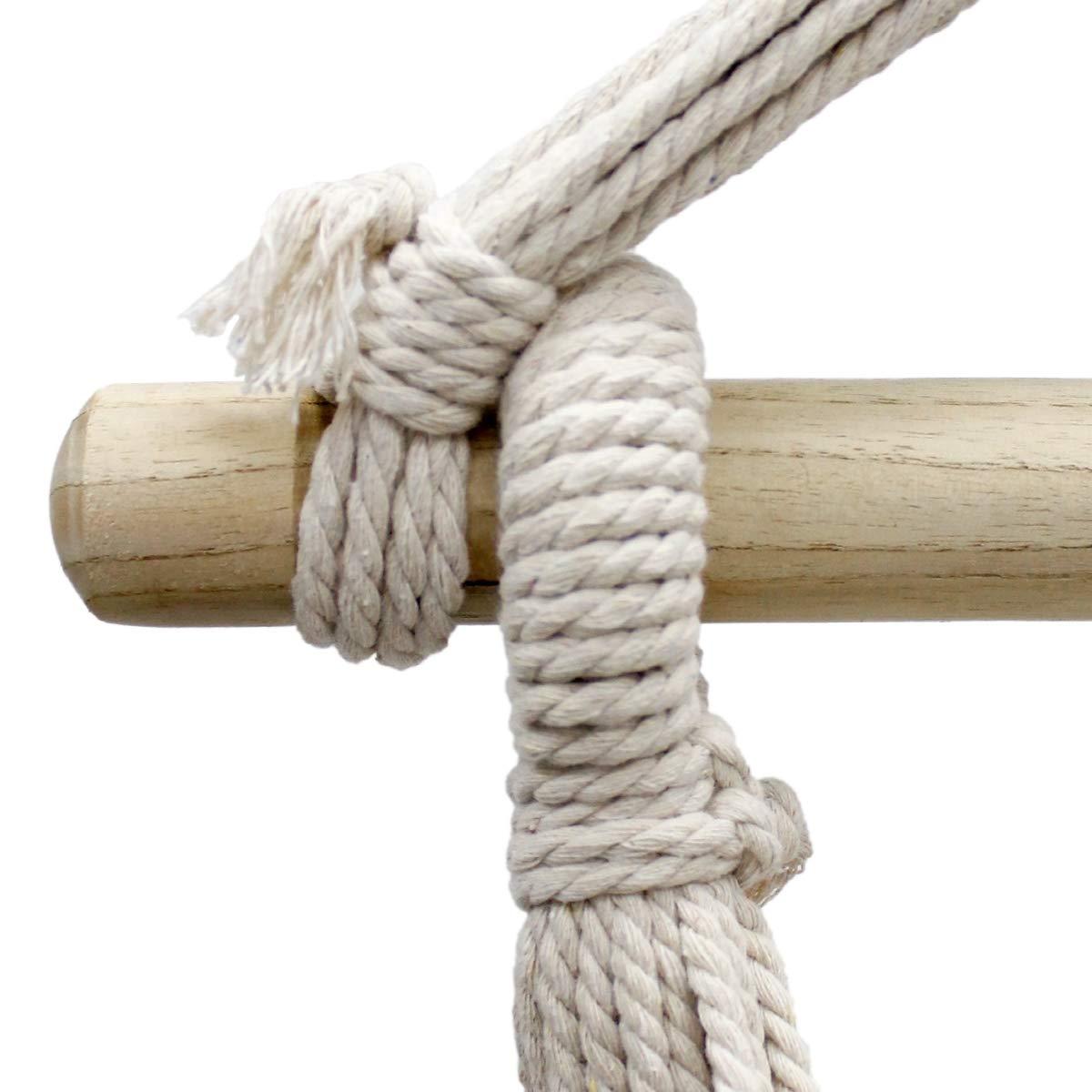 en coton//bois dur avec 2 coussins jusqu/à 120 kg Int/érieur et ext/érieur Hamac suspendu Rouge//Vert//Jaune ECD Germany Fauteuil suspendu