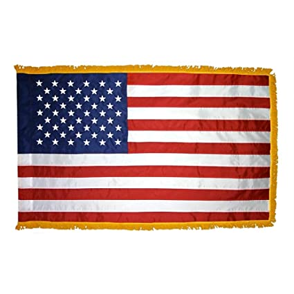 Amazon com : 3'x5' Indoor Fringed American Flag with Gold