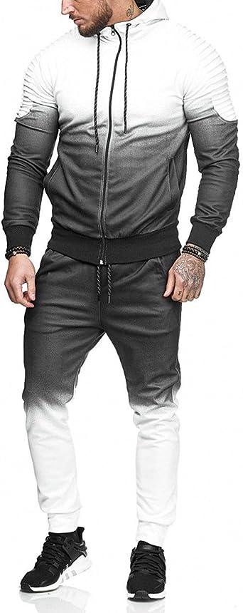 Men Gradient Color Sport Suit Zipper Hoodies Tracksuit Outfit Contrast Jogging Full Sweatsuit