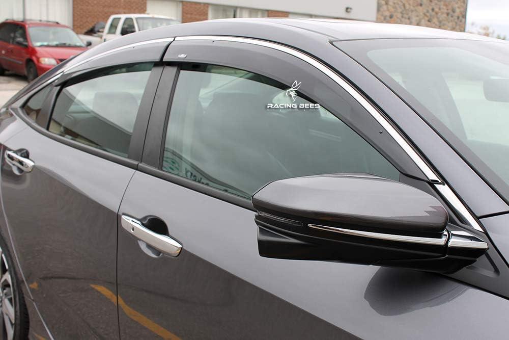 Racingbees 2016-2018 Honda Civic 4Door Sedan Factory OEM Style Window Visor Chrome Trim 2017