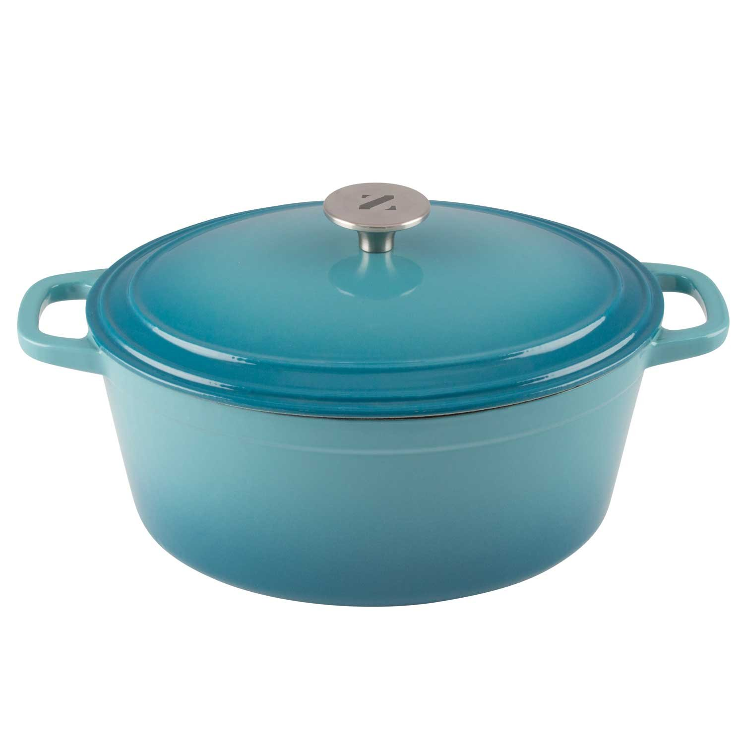 Zelancio 6 Quart Cast Iron Enamel Covered Oval Dutch Oven Cooking Dish with Skillet Lid (Teal)