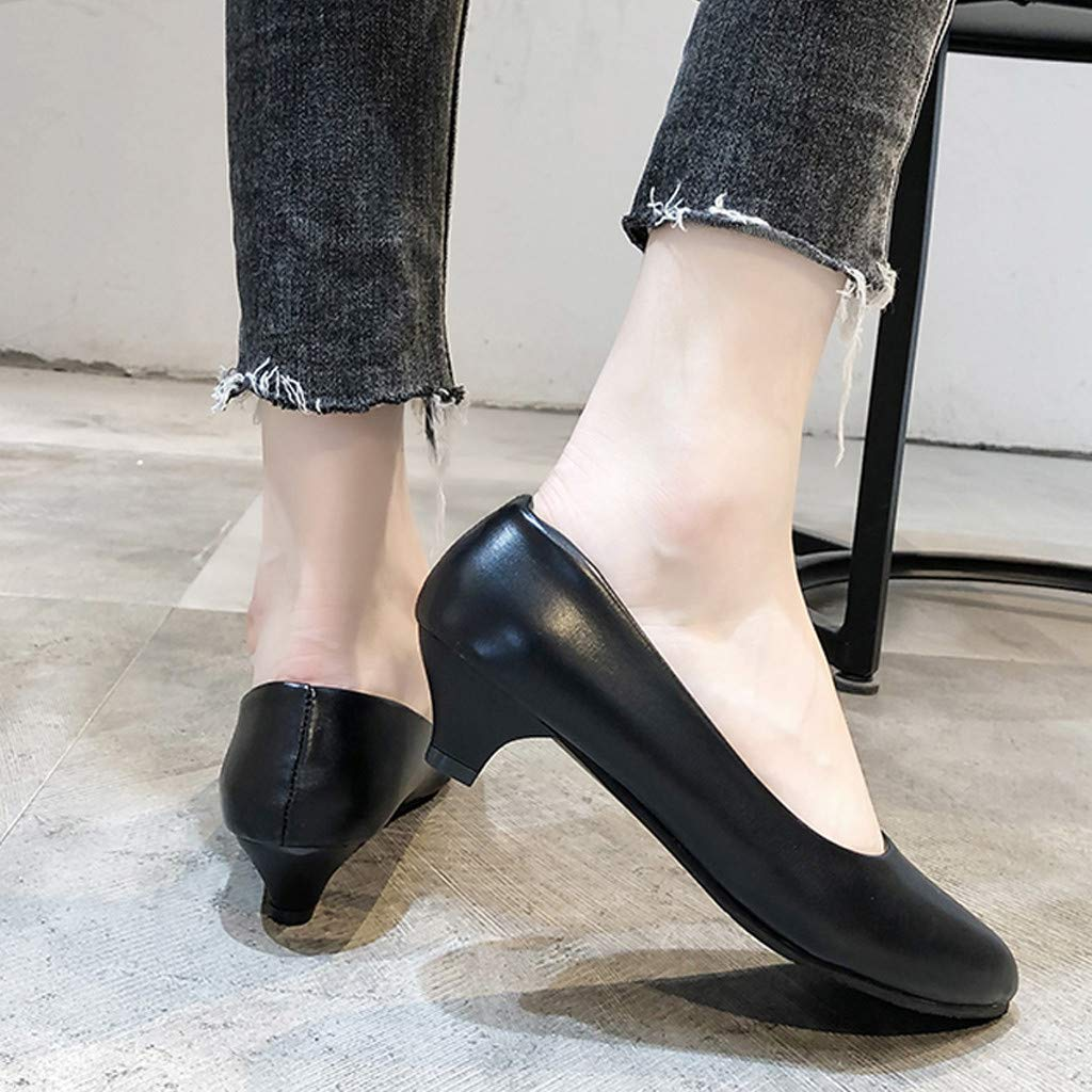 Ladies Faux Leather Classic Round Toe Slip on Loafer Women Low Heel Dress Pumps Shoes Comfy Basic Shoes for Office Wedding Party