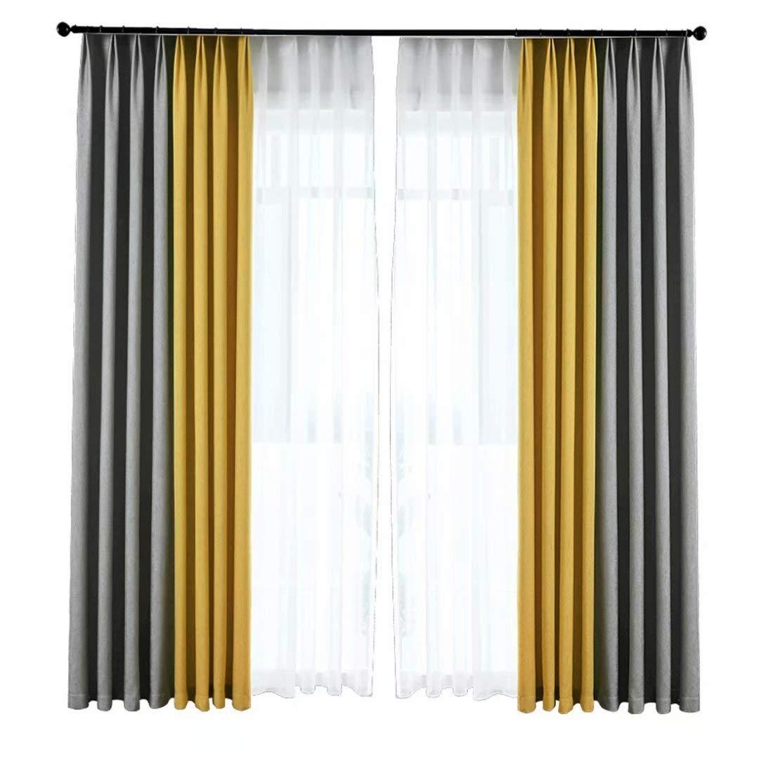 北欧 カーテン 遮光 ドレープカーテン 簡約 シンプル 2色カーテン グレーとイエロー オーダーカーテン 優雅 エレガント 外から見えにくい インテリア リビング 田園風 装飾ホーム 居間 窓 部屋 綺麗 新居 洗える 高品質 おしゃれ 仕切り 洗濯可能 断熱 遮熱 OSONA 幅100CM*丈200CM 2枚  B072L24Y67