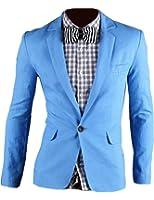XQS Men's Casual One-Button Solid Modern-Fit Blazer Suit Jacket Sky blue 2XL