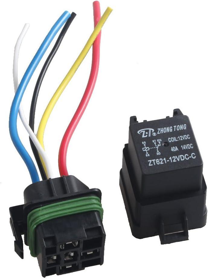 E Support/™ 2 X 12V 40A 5-Polig SPDT KFZ Relais /Öffner Schlie/ßer Auto LKW Wechselrelais Leistungsrelais Buchse Stecker Wasserdicht