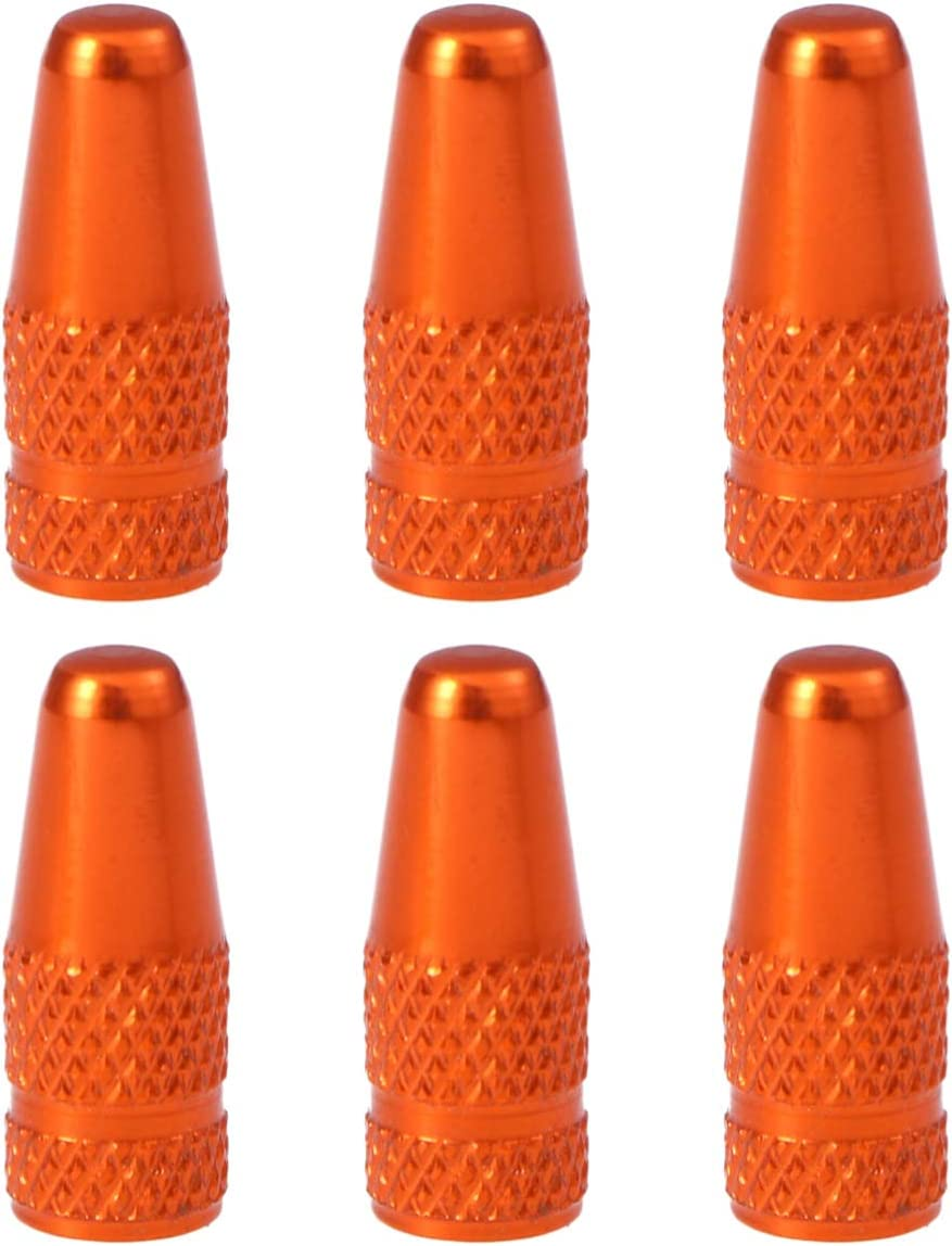 VORCOOL 6 Pcs Bicycle Aluminum Alloy French Valve Caps for MTB Road Bike Mountain Bike Tyre Air Valve Caps Dust Covers (Orange)