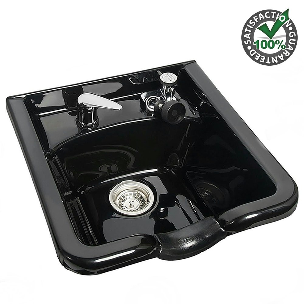 Plastic Shampoo Bowl Sink Black - Backwash Hair Basin Station Unit Set w/ Drainage for Beauty Salon Cabinetry Treatment Barber Shop Spa Hair Cut Equipment Lightweight Durable Sturdy Easy Installation