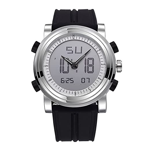 Relojes de pulsera para hombre, multifuncionales, luminosos, analógicos, digitales, de doble hora, impermeables, color negro: Amazon.es: Relojes