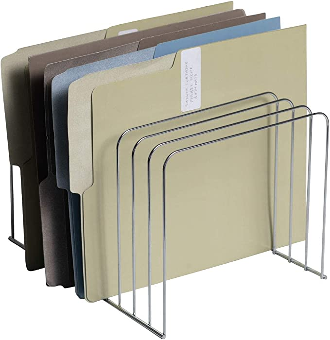 Klickpick Office Wire Desk File Organizer with 11 Divider Sections Organizers (Chrome Plated)