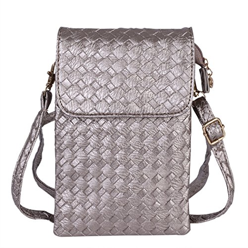 Grey Woven Cell Phone Pouch with Shoulder Strap for 5.5 inch cell phones